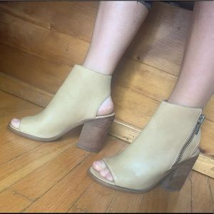 Steve Madden leather tan heeled booties